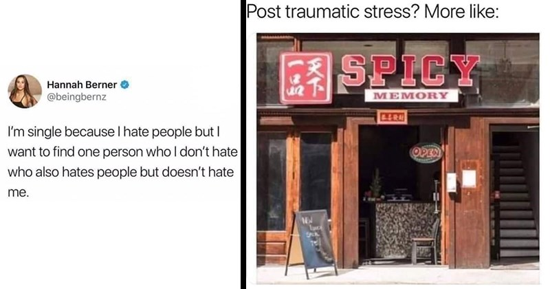 funny memes, random memes, dank memes, shitposts, funny, memes, spicy memes, relatable memes | Hannah Berner @beingbernz single because hate people but want find one person who don't hate who also hates people but doesn't hate | Post traumatic stress? More like: SPICY MEMORY store sign
