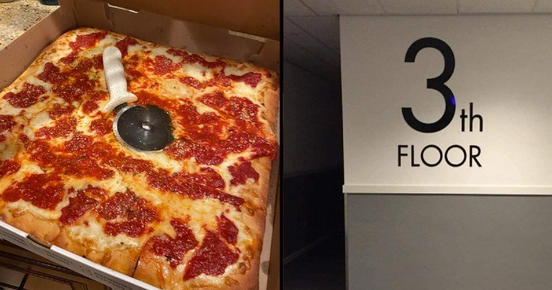 funny unprofessional not my job moments | square pizza in a box with the pizza wheel cutter embedded in the center | sign on wall 3th floor stupid misspelling