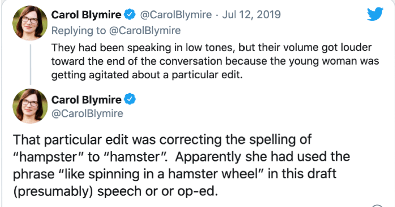 """Employee doubles down on spelling of hamster as """"Hampster"""" 