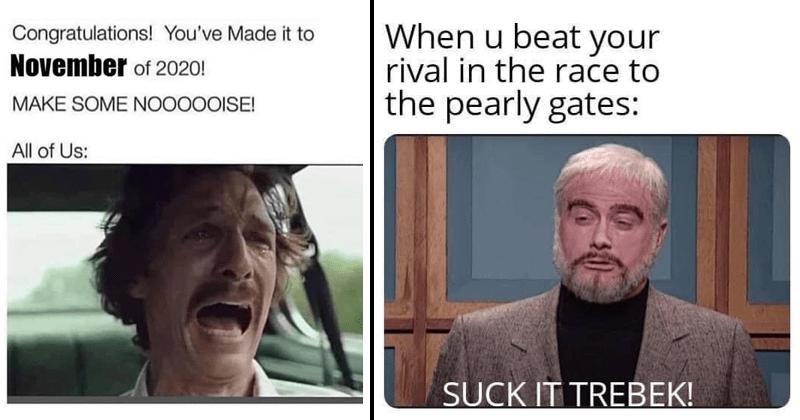 Funny random memes, dank memes, stupid memes, alex trebek, snl, relatable memes | Congratulations Made November 2020! MAKE SOME NOISE! All Us: Matthew McConaughey screaming | u beat rival race pearly gates: SUCK TREBEK! SNL skit Darrell Hammond as Sean Connery