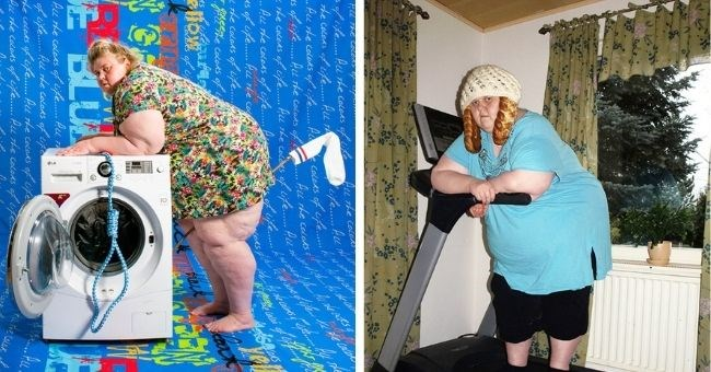 Finnish woman's bizarre and disturbing self-portraits | thumbnail includes two pictures of woman, bending over washing machine and standing on treadmill