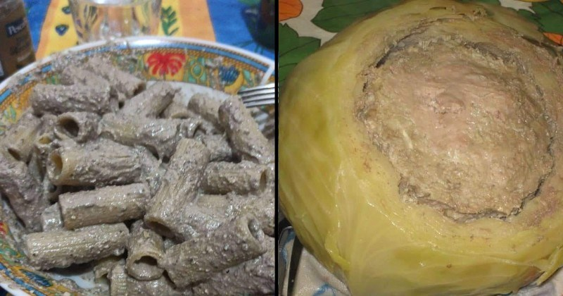 disgusting cursed food | pasta covered in gray gross sauce gravy | cabbage emptied and carved into a bowl and stuffed with something brown