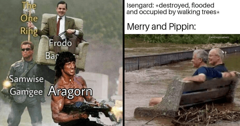 Funny, nerdy dank and dumb memes about lord of the rings, jrr tolkien | One Ring Frodo Samwise Gamgee Aragorn Mr. Bean carried by Arnold Schwarzenegger and Sylvester Stalone | Isengard destroyed, flooded and occupied by walking trees Merry and Pippin: GANDALFS.MEMES two people sitting on a bench surrounded by water
