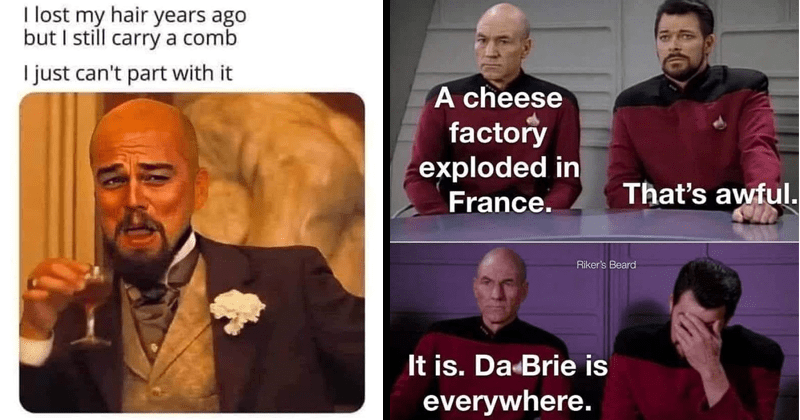Funny and corny dad jokes, bad jokes, puns, eyeroll, cringe, dad humor, fathers, star trek | lost my hair years ago but still carry comb just can't part with bald laughing Leo Dicaprio | cheese factory exploded France s awful. Riker's Beard is. Da Brie is everywhere.