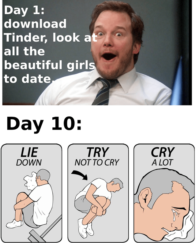 funny tinder, dating fails, funny dating memes | Tie - Day 1: download Tinder, look at all beautiful girls date Day 10: CRY LOT LIE TRY DOWN NOT CRY