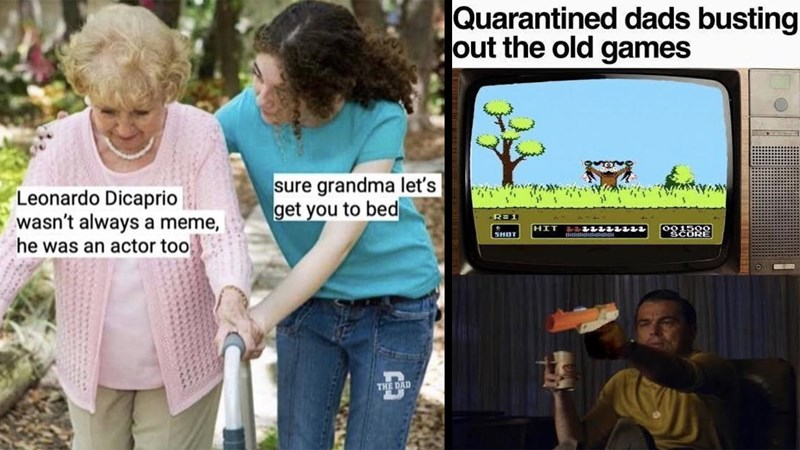 funny memes, dank memes, laughing leo, django unchained, titanic, inception, movie memes, leonardo dicaprio | Leonardo Dicaprio wasn't always meme, he an actor too sure grandma let's get bed | Quarantined dads busting out old games Rick Dalton playing Duck Hunt