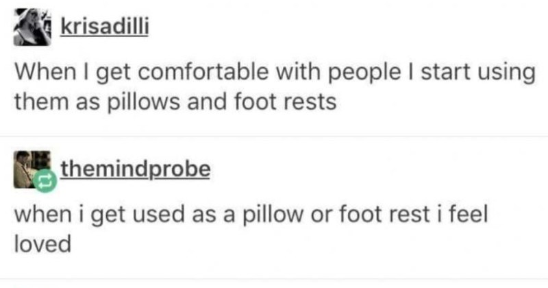 A collection of totally random yet funny moments from the world of Tumblr | krisadilli get comfortable with people start using them as pillows and foot rests themindprobe get used as pillow or foot rest feel loved ashton-irwin-belongs am both these people Source: krisadilli 599,937 notes