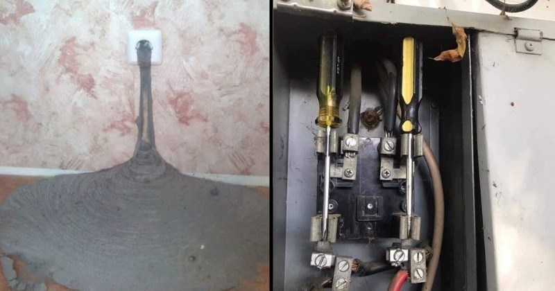 construction fails | cement pouring inside through an electric socket | two screwdrivers used inside a power box