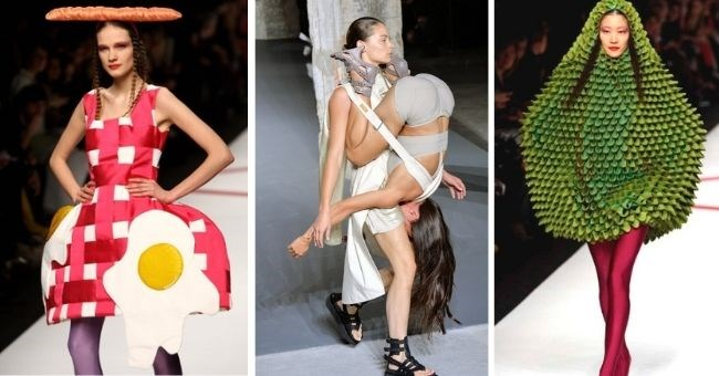 ridiculous women's catwalk looks that somehow passed for fashion | thumbnail includes three images of women on catwalk