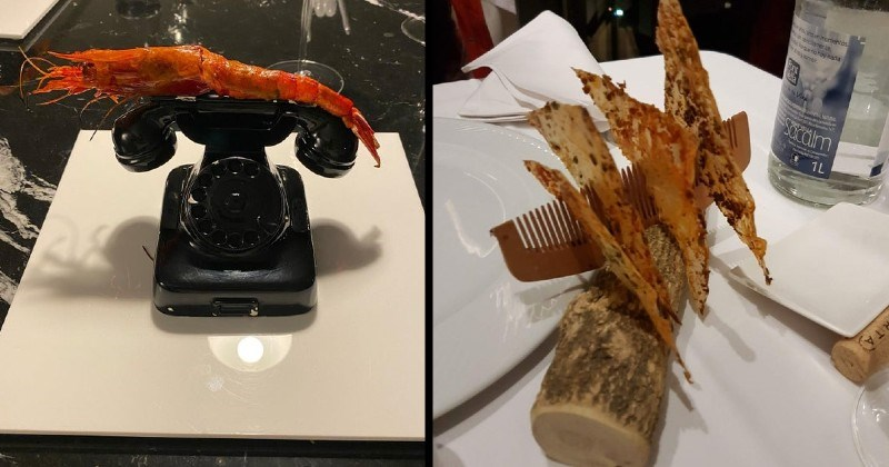 food with stupid presentations | shrimp served on top of a vintage old school rotary phone | crackers held up in a comb propped up on a log of wood