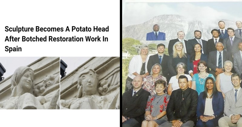 funny pics, fail, facepalm, facebook, stupid, funny memes, funny headlines, memes | Sculpture Becomes Potato Head After Botched Restoration Work Spain | man badly photoshopped into a group photo