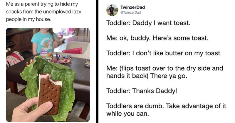 parenting memes, funny memes, kids, toddlers, funny tweets, twitter, quarantine, parenting | as parent trying hide my snacks unemployed lazy people my house. eating ice cream sandwich hidden behind lettuce | TwinzerDad @TwinzerDad Toddler: Daddy want toast ok, buddy. Here's some toast. Toddler don't like butter on my toast flips toast over dry side and hands back There ya go. Toddler: Thanks Daddy! Toddlers are dumb. Take advantage while can.