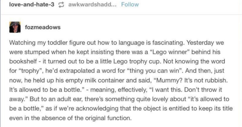 "A quick Tumblr post on kids' various learning struggles | fozmeadows Watching my toddler figure out language is fascinating. Yesterday were stumped he kept insisting there Lego winner"" behind his bookshelf turned out be little Lego trophy cup. Not knowing word trophy he'd extrapolated word thing can win And then, just now, he held up his empty milk container and said Mummy s not rubbish s allowed be bottle meaning, effectively want this. Don't throw away But an adult ear, there's something"