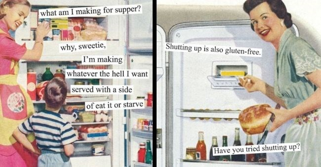 Hilarious 2021 vintage calendar with sarcastic comments   thumbnail includes two images Text - what am I making for supper? why, sweetie, I'm making whatever the hell I want served with a side of eat it or starve, Shutting up is also gluten-free. Have you tried shutting up?