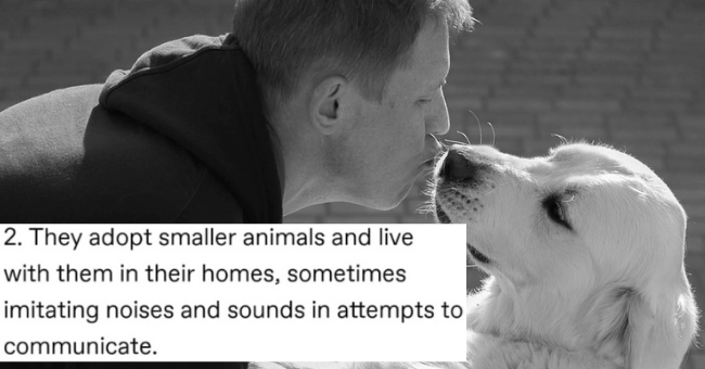 tumblr post about why humans are the cutest animals thumbnail includes a picture of a man kissing a dog's nose with the caption 'Text - 2. They adopt smaller animals and live with them in their homes, sometimes imitating noises and sounds in attempts to communicate.'