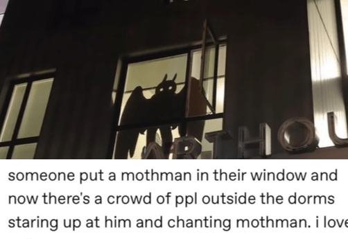 funny tumblr posts blog blogging reblog entertaining and interesting relatable jokes inspirational weird humor today i learned | cedarspiced someone put mothman their window and now there's crowd ppl outside dorms staring up at him and chanting mothman love college precious-crona angle this photo implies OP is part aforementioned crowd. cedarspiced who do think started mothman chant