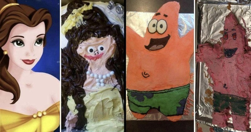 funny cake failures | Belle from Disney's Beauty and the Beast | Patrick Star from Spongebob Squarepants