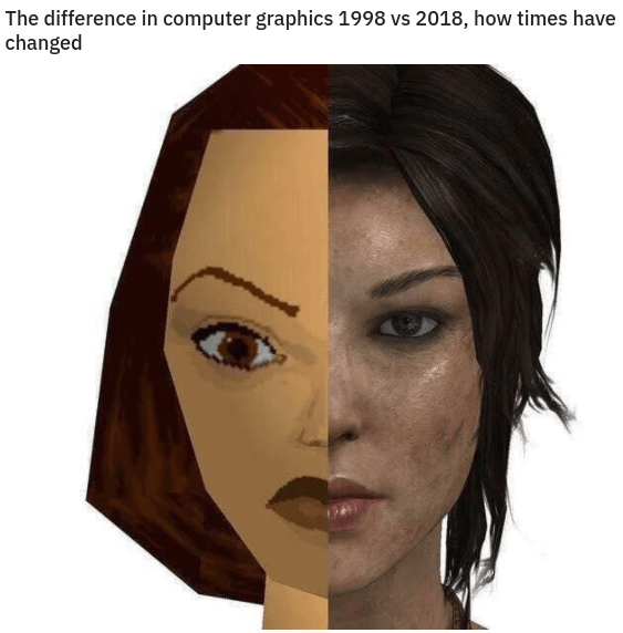 gaming pictures, cool gaming pics, internet memes | Person - difference computer graphics 1998 vs 2018 times have changed