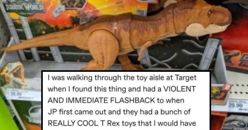 """A funny Tumblr thread about the adventures of an extreme chompin T-Rex   TYRANNOSAURUS REX 29.90 WORLD walking through toy aisle at Target found this thing and had VIOLENT AND IMMEDIATE FLASHBACK JP first came out and they had bunch REALLY COOLT Rex toys would have sold one my scrawny small-child limbs but my mother wouldn't get one because they were """"too violent and also ate people bunjywunjy hnn WANT SO BAD"""