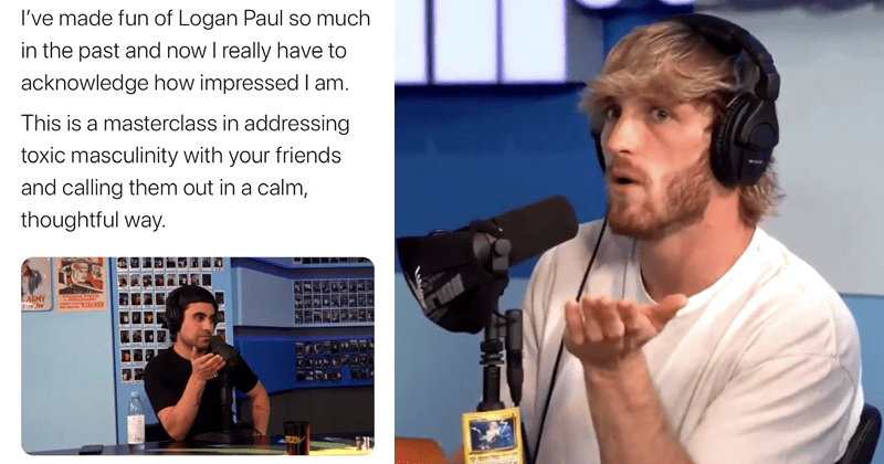 Twitter reacts to Logan Paul's podcast in which he defends Harry Styles' masculinity, gaslighting, candace owens, vogue | I've made fun of Logan Paul so much in the past and now I really have to acknowledge how impressed I am. This is a masterclass in addressing toxic masculinity with your friends and calling them out in a calm, thoughtful way.
