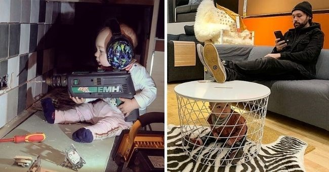 dad photoshops his baby daughter into dangerous positions to scare mom | thumbnail includes two images of baby using power drill and baby trapped in table