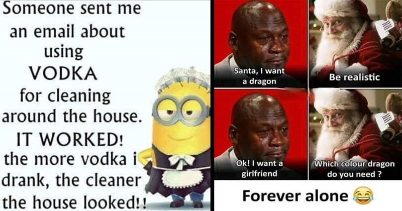 wtf, funny memes, bad memes, terrible facebook memes, memes, shitposts, boomer humor, fail, cringe, facepalm, dad jokes, puns | Someone sent an email about using VODKA cleaning around house WORKED more vodka drank cleaner house looked!! Minion in maid outfit | Santa want dragon Be realistic Ok want girlfriend Which colour dragon do need Forever alone Crying Michael Jackson