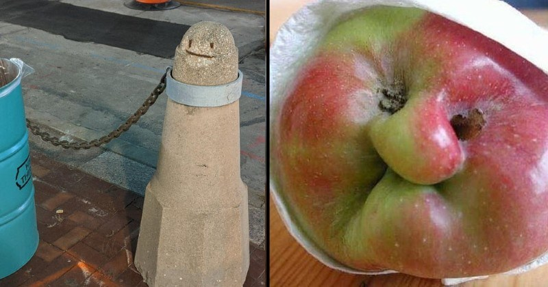 Faces in things | concrete pole with a smiley face drawn on it and a metal chain tied around it | weird apple with a human facial features
