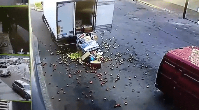 funny videos, fails, ouch | things from a truck fall out