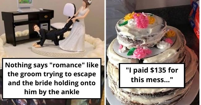 pictures of wedding cake fails | bride dragging a groom from a computer desk | ugly cheap yellow cake