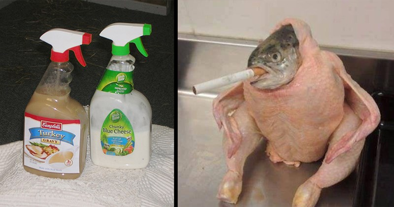 chris maggio, male chef, thanksgiving, turkey, cursed images, cursed, cringe, holidays, food porn, cursed food, funny pics | cleaning bottle spray filled with sauce and gravy IMPROVED TASTE Turkey Gravy Chunky Blue Cheese | fish stuffed inside a chicken with a cigarette stuck in its mouth