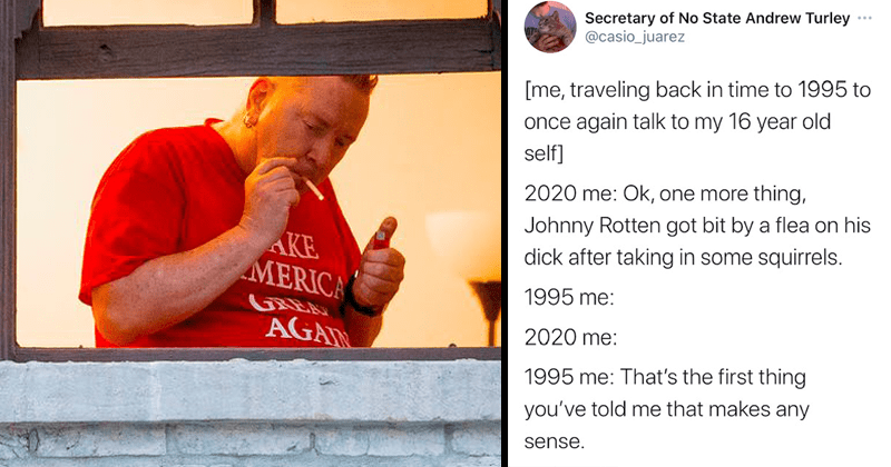 Twitter roasts Johnny Rotten for getting flea bites on his penis after trying to befriend or rescue some squirrels in his Venice Beach Los Angeles home, MAGA, Donald trump supporter | Secretary Of NO State Andrew Turley @casio_juarez me, traveling back in time to 1995 to once again talk to my 16 year old self 2020 me: ok, one more thing, Johnny Rotten got bit by a flea on his dick after taking in some squirrels. 1995 me: 2020 me: 1995 me: That's the first thing you've told me that makes any