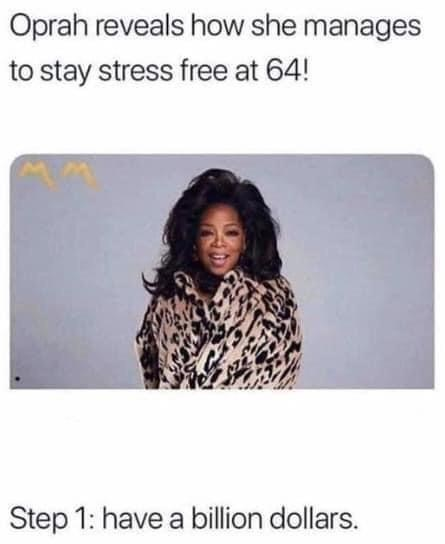 funny memes, life hacks, internet memes | Person - Oprah reveals she manages stay stress free at 64! Step 1: have billion dollars.