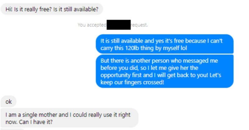 A choosing beggar expects their A/C unit to be delivered for free, and gets rejected | Is really free? Is still available accepted request is still available and yes 's free because can't carry this 120lb thing by myself lol But there is another person who messaged before did, so let give her opportunity first and will get back Let's keep our fingers crossed! ok am single mother and could really use right now. Can have Hello will give her opportunity until tomorrow and if don't hear back her