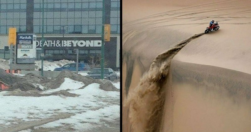 photos of strange perspective that produce optical illusions. | Bed Bath and Beyond store sign that looks like it reads Death & Beyond | motorcycle driving on a sandy dune raising dust behind