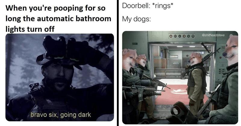 Funny random memes, funny tweets, relatable memes, dog memes, dank memes, animal memes, sex memes, poop memes | pooping so long automatic bathroom lights turn off bravo six, going dark | Doorbell rings My dogs shitheadsteve