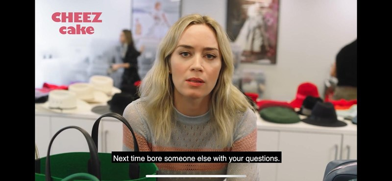 funny parody interview with Emily Blunt | thumbnail shows Emily blunt Text - CheezCake Next time bore someone else with your questions
