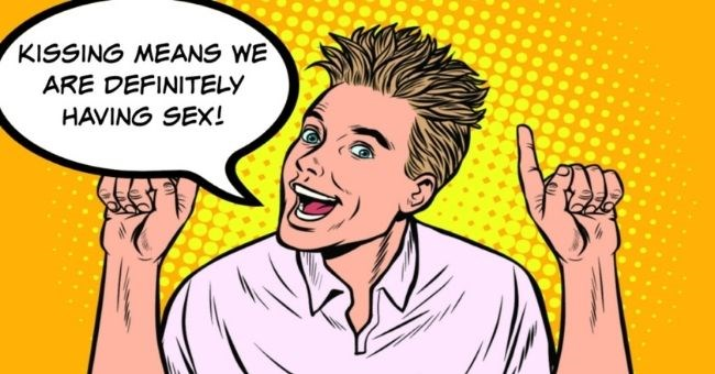 bad date story about a guy who assumed a woman would have sex because they kissed | thumbnail includes pop art image of man Text - Kissing means we are definitely having sex