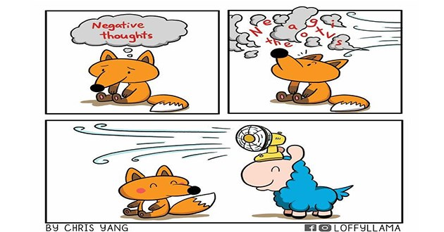 adorable and wholesome animal comics featuring a llama - thumbnail of sad fox having its negative thoughts blown away by the blue llama with a fan on its head