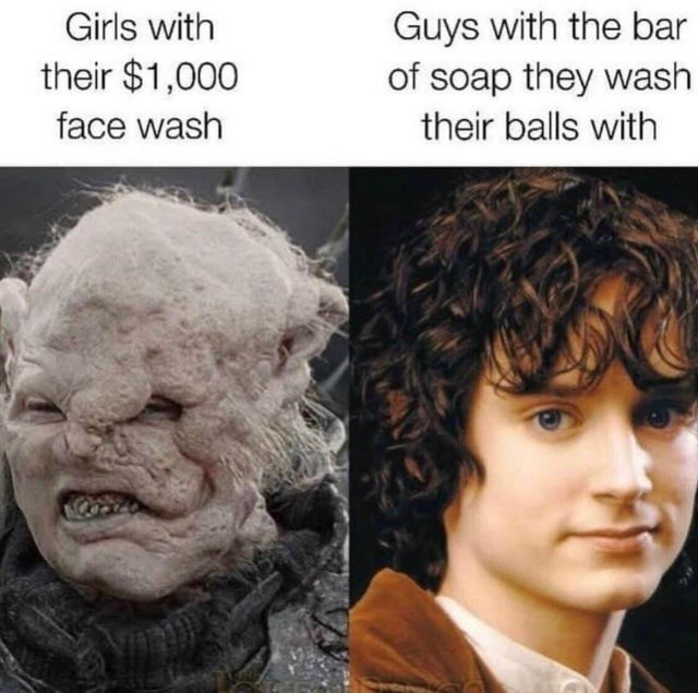 funny memes, wtf memes, silly memes, weird, life hacks   Person - Guys with bar soap they wash Girls with their $1,000 face wash their balls with