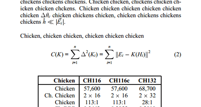tumblr thread about an academic paper about chickens thumbnail includes a snippet of the paper and all the words in it are 'chicken'