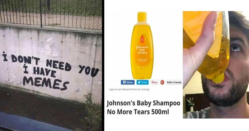 depression memes, breakup, breakup memes, sad, anxiety memes, relatable memes, memes, funny, funny memes, mental health, mental health memes, relationships, single, self-deprecating, heartbreak | DON'T NEED HAVE MEMES graffiti | Johnson's Baby Shampoo No More Tears drinking shampoo from bottle