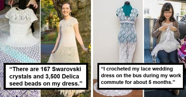 "talented brides who made their own wedding dresses | thumbnail includes two pictures of brides with wedding dresses Text - ""There are 167 Swarovski crystals and 3,500 Delica seed beads on my dress."", ""I crocheted my lace wedding dress on the bus during my work commute for about 5 months."""