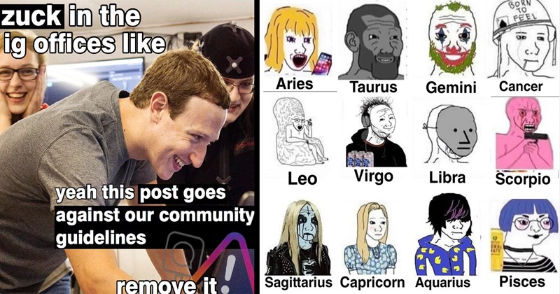funny memes, memes, funny, random memes, dank memes, lol, shitposts, cats, star treak, shrek, wojak, good memes, twitter memes, funny tweets | zuck ig offices like yeah this post goes against our community guidelines remove | Aries Taurus Gemini Cancer Leo Virgo Libra Scorpio Sagittarius Capricorn Aquarius Pisces wojack memes