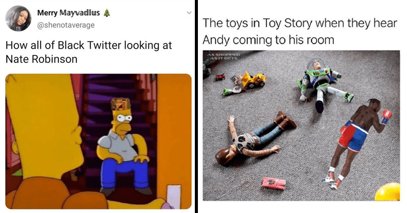 Funny memes and tweets from the Jake Paul and Nate Robinson knockout boxing match, mike tyson, twitter memes, lol | Merry Mayvadius @shenotaverage all Black Twitter looking at Nate Robinson angry Homer Simpson in traditional head wear | toys Toy Story they hear Andy coming his room