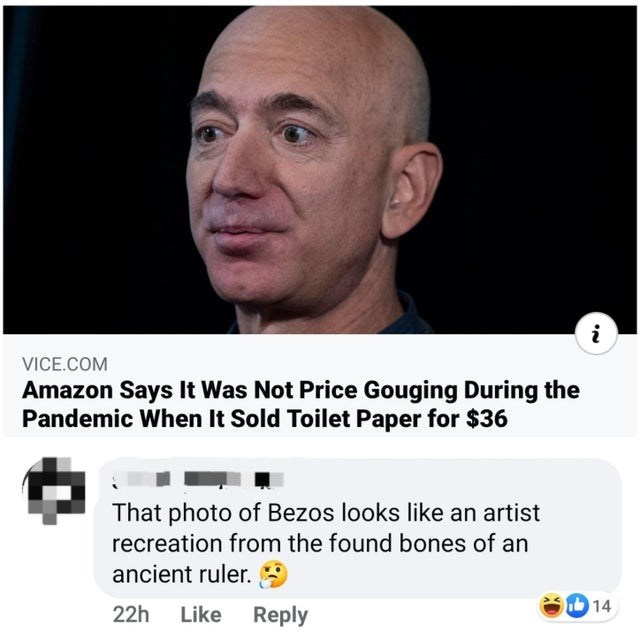 funny memes, screenshots, entertaining memes | Person - VICE.COM Amazon Says Not Price Gouging During Pandemic Sold Toilet Paper 36 photo Bezos looks like an artist recreation found bones an ancient ruler. 22h Like Reply 14