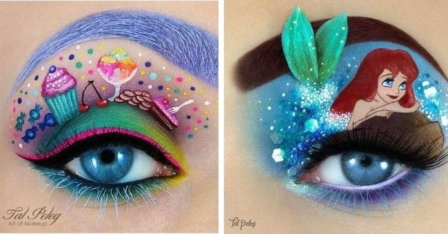 makeup artist creates stunning pictures on people's eyelids | thumbnail includes two pictures of makeup on eyelids candy and ariel mermaid