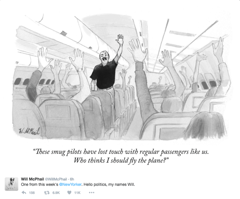 Smug cartoon in the new yorker that is so 2016