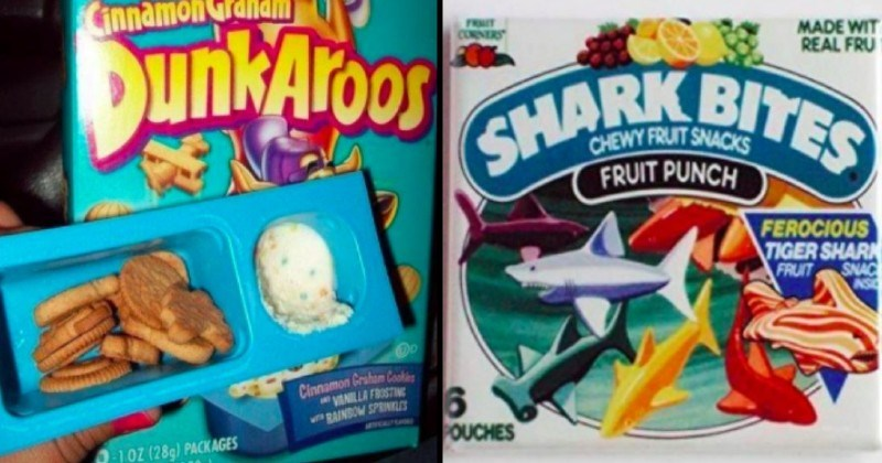 nostalgic junk food from the 1990s | Belly Crocker Cinnamon Graham Dunkaroos Cinnamon Graham cookies VANILLA FROSTING RAINBOW SPRINKLES | FRUIT CORNERS MADE WIT REAL FRUIT SHARK BITES FRUIT PUNCH FEROCIOUS TIGER SHARK FRUIT SNACK AS POUCHES