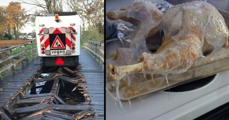 failure and misfortune | truck going over a wooden bridge and leaving a broken trail in the planks its made of | melted plastic covering a frozen chicken