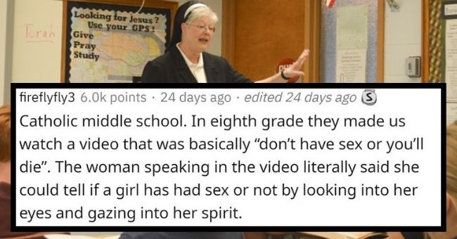 "Sex ed horror stories from teachers and students | thumbnail Text - AlsoIHaveAGroupon 1.7k points · 24 days ago We did a thing in 9th grade where anyone could write down a question anonymously. One was about average penis size. This was in the early 90s, so that wasn't something we could just google. The sex ed teacher, who was highly trained at coaching football but probably not at sex ed, told us ""between 7 and 9 inches."" Probably every guy nervously glanced around the room and tried"